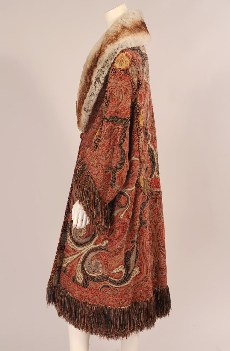 Women's 1920's Coat Made from a Handmade Antique Kashmiri Paisley Shawl For Sale