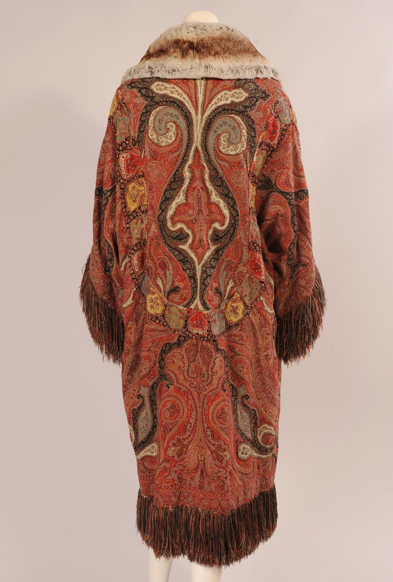 1920's Coat Made from a Handmade Antique Kashmiri Paisley Shawl For Sale 1