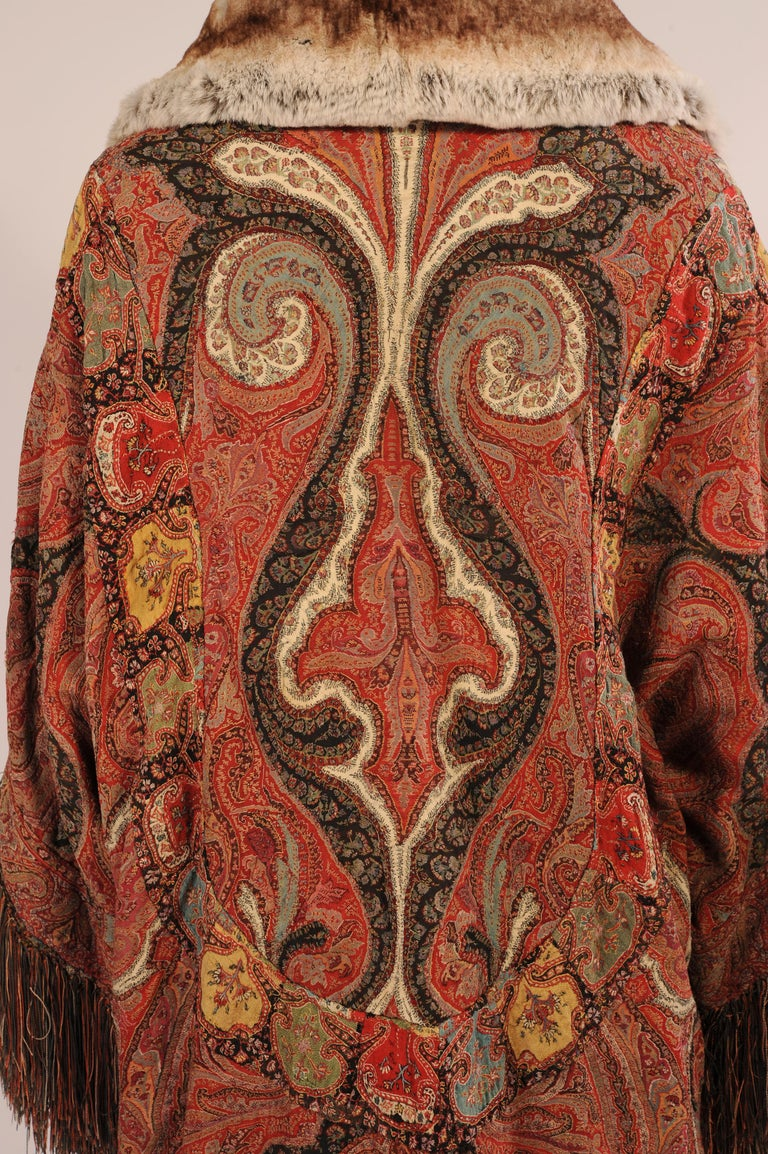 1920's Coat Made from a Handmade Antique Kashmiri Paisley Shawl For Sale 2