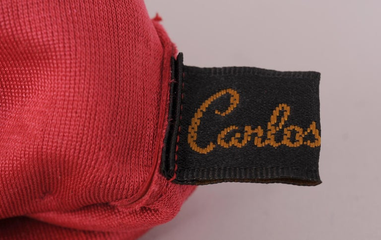 Women's Carlos Falchi Red Leather Gloves with Bow Decoration Never Worn For Sale