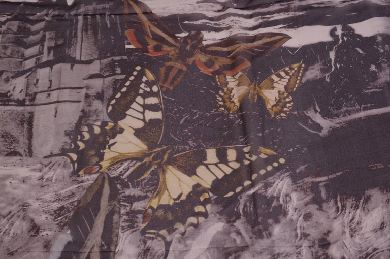 Alexander McQueen Silk Chiffon Shawl In Excellent Condition For Sale In New Hope, PA