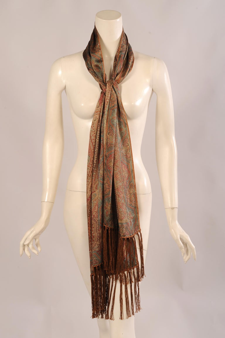 Brown Ralph Lauren Collection Silk Paisley Shawl with Fringe in Original Box For Sale