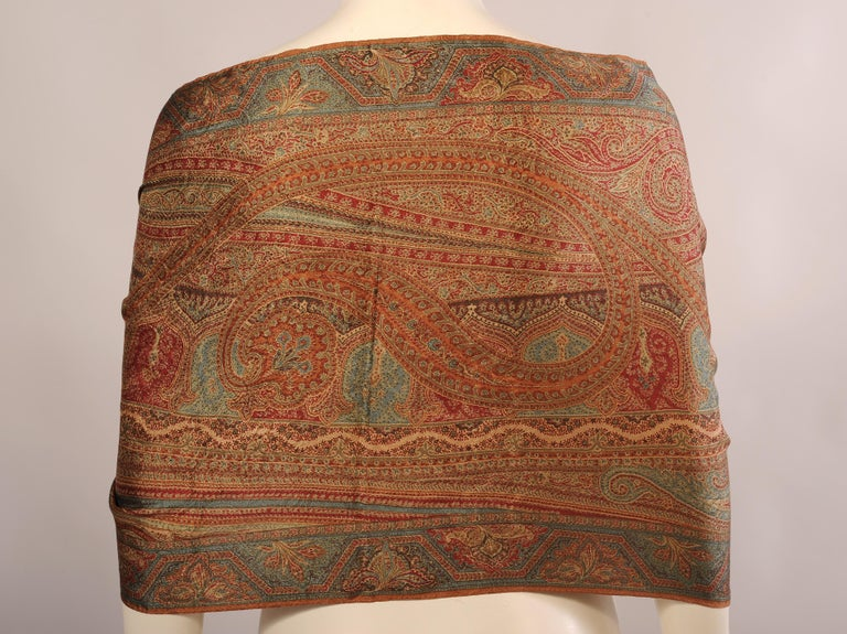 Ralph Lauren Collection Silk Paisley Shawl with Fringe in Original Box In Excellent Condition For Sale In New Hope, PA