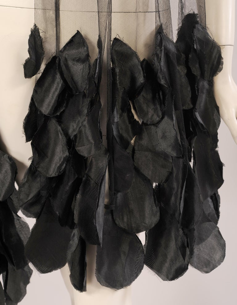 1930's Black Tulle Shawl Wrap with Appliqued Black Flower Petals In Excellent Condition For Sale In New Hope, PA
