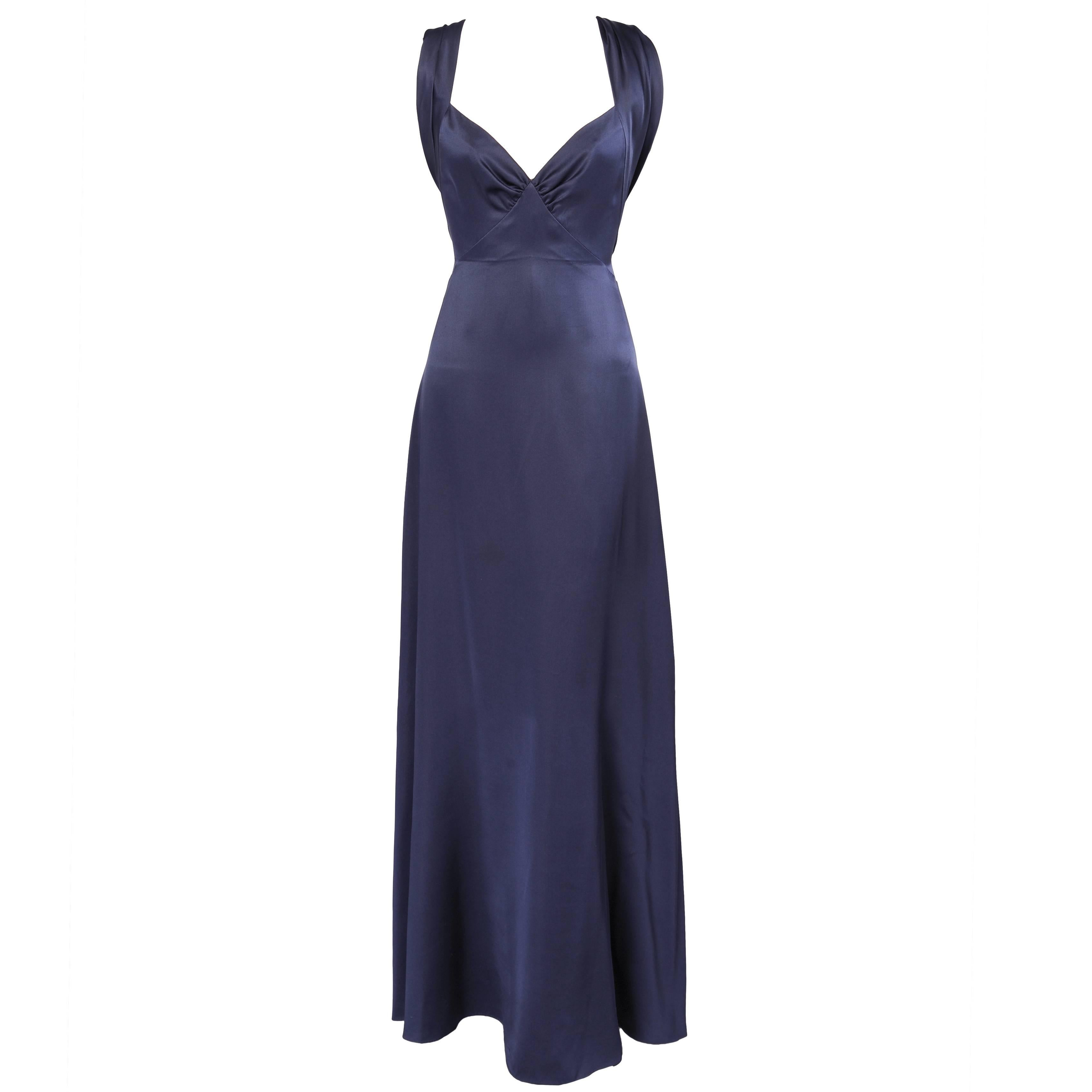 0ad1304f2ed3 Yves Saint Laurent Numbered Haute Couture Sapphire Blue Low Back Evening  Gown at 1stdibs