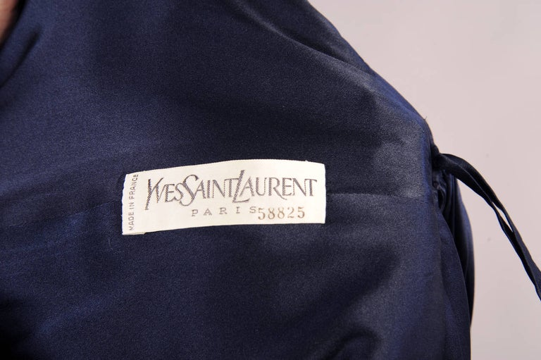 ad989d59935a Women's Yves Saint Laurent Numbered Haute Couture Sapphire Blue Low Back  Evening Gown For Sale
