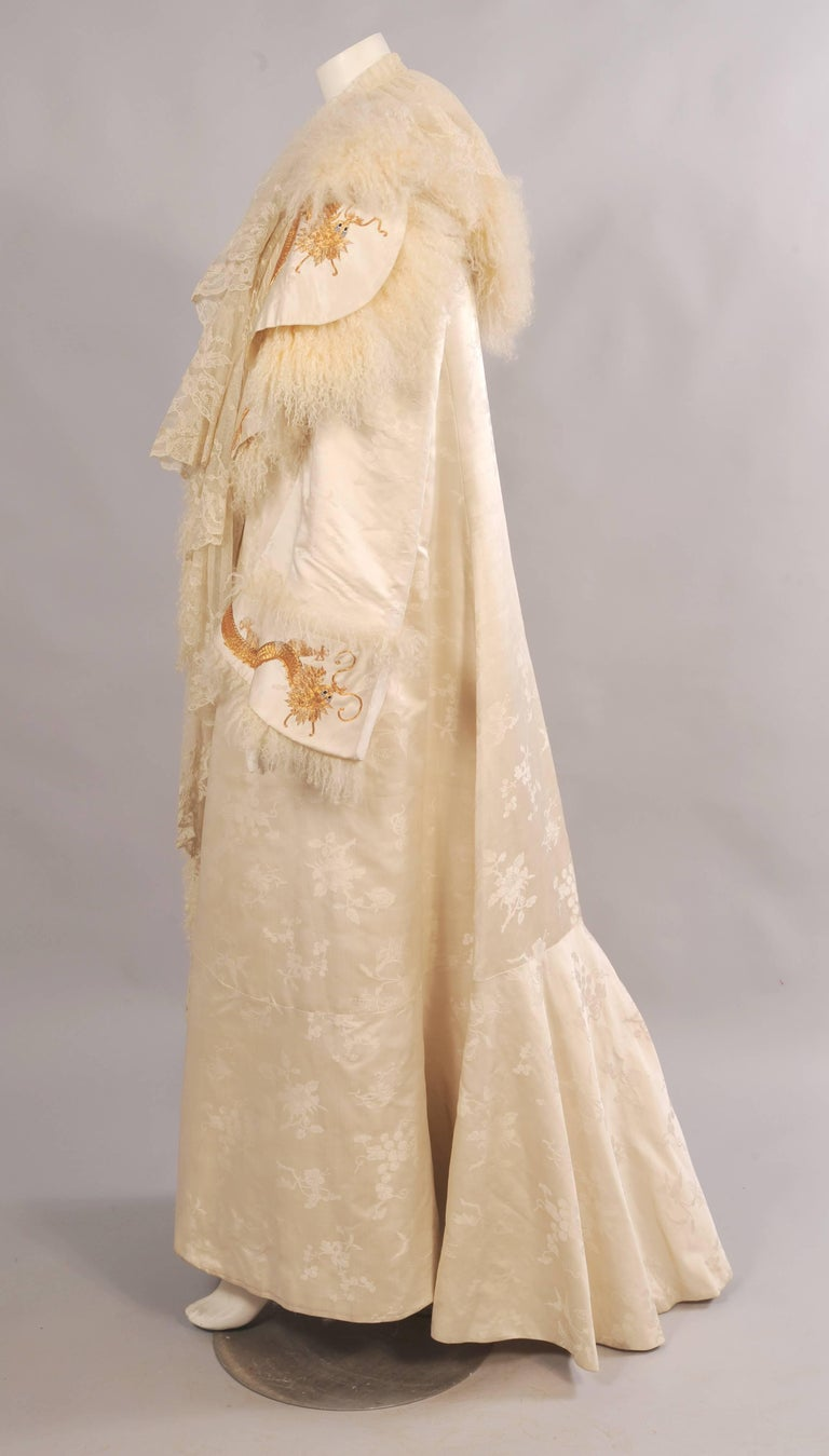 Women's Victorian Gold Dragon Embroidered Silk, Lace and Curly Lamb Evening Coat  For Sale