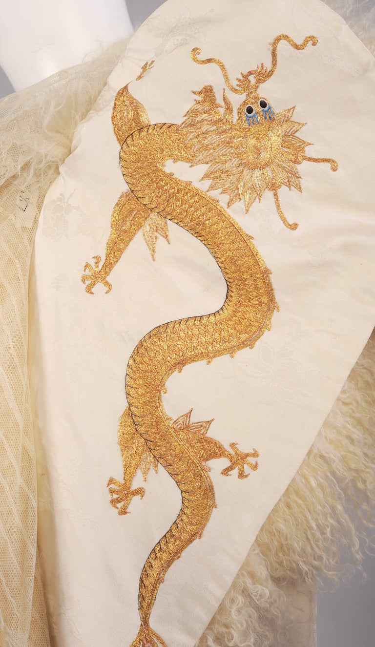 Victorian Gold Dragon Embroidered Silk, Lace and Curly Lamb Evening Coat  For Sale 1