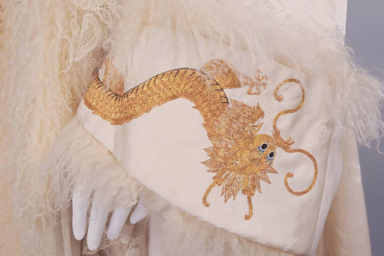 Victorian Gold Dragon Embroidered Silk, Lace and Curly Lamb Evening Coat  For Sale 2