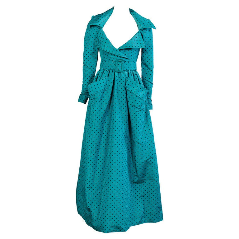 Givenchy Numbered Haute Couture Low Cut Polka Dot Silk Evening Gown For Sale