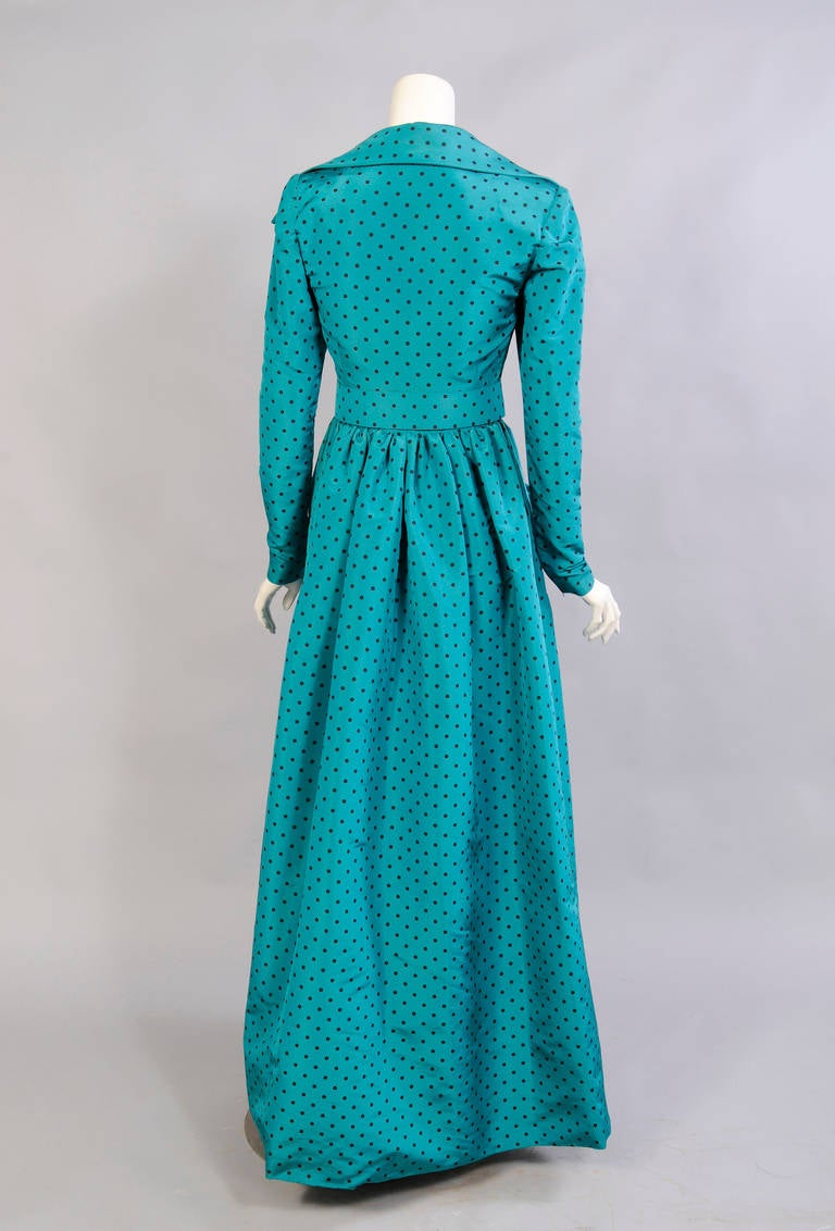 Blue Givenchy Numbered Haute Couture Low Cut Polka Dot Silk Evening Gown For Sale