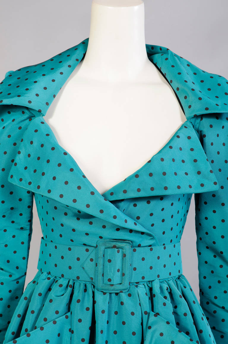 Women's Givenchy Numbered Haute Couture Low Cut Polka Dot Silk Evening Gown For Sale