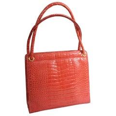 Barney's New York Italian Oversized Pantone Living Coral Crocodile Bag