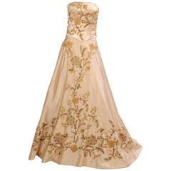 Eavis & Brown Beaded Embroidered and Appliqued Cream Silk Satin Two Piece Gown