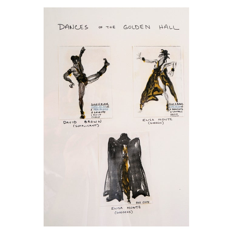 This piece is three Halston drawings of costumes for Dances of The Golden Hall by Martha Graham. They are illustrations for outfits worn by the principal dancers Elisa Monte and David Brown. This ballet debuted in 1982. The drawings are in excellent