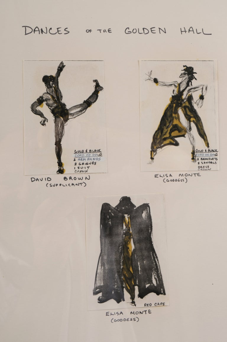Beige Halston Original Costume Designs ex Martha Graham Estate Matted & Framed For Sale