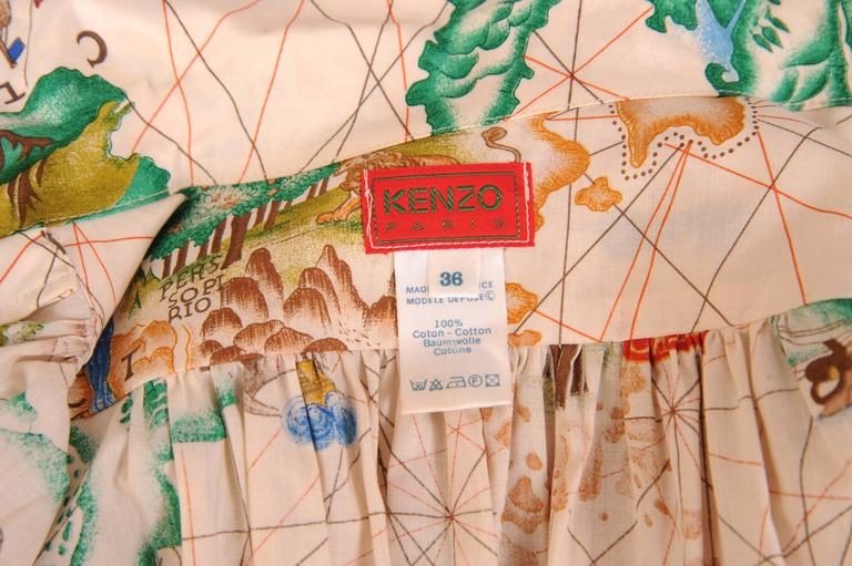 Kenzo Travel Theme Map Print Cotton Wrap Blouse 4