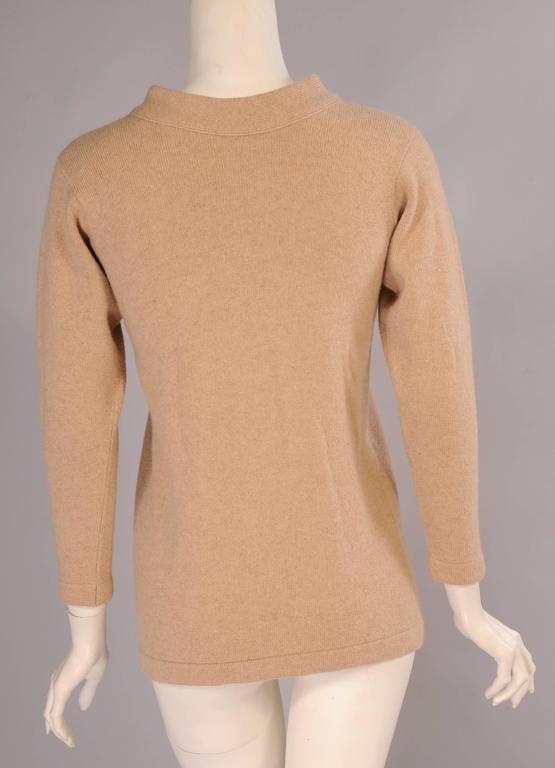 Beige Bonnie Cashin Scottish Cashmere Cardigan Sweater For Sale