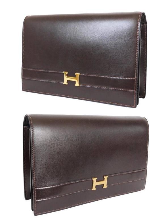 Black Hermes Brown Box Calf Annie 2way Shoulder Clutch Bag 1970s For Sale