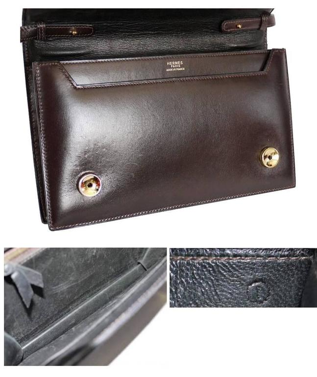 Hermes Brown Box Calf Annie 2way Shoulder Clutch Bag 1970s In Good Condition For Sale In Hiroshima City, JP