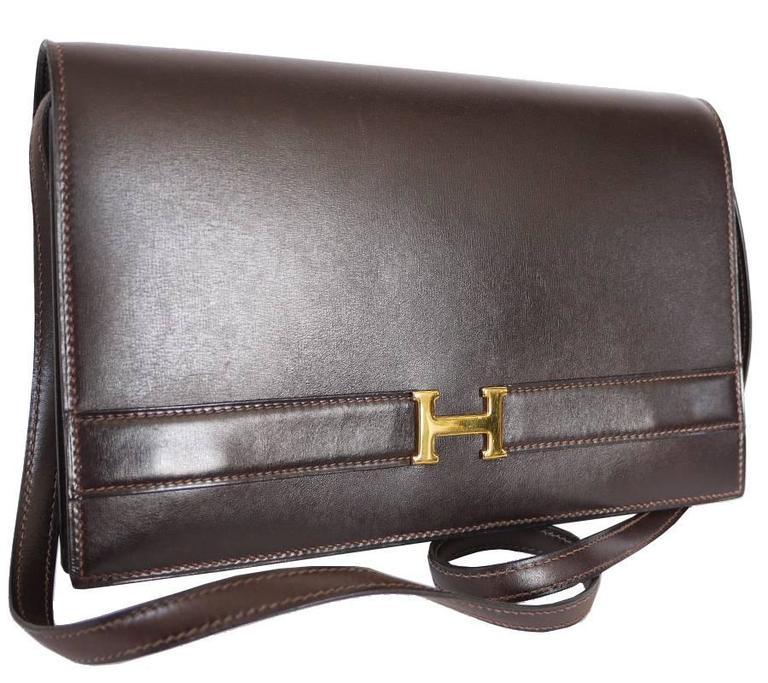 Hermes Brown Box Calf Annie 2way Shoulder Clutch Bag 1970s For Sale 2