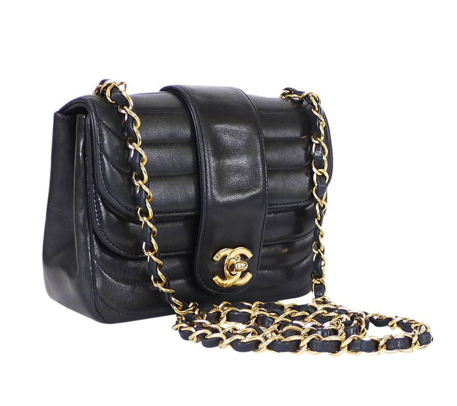 cccb151fd92fc1 Vintage Chanel Black Lambskin Mini Classic Bag Rare For Sale at 1stdibs