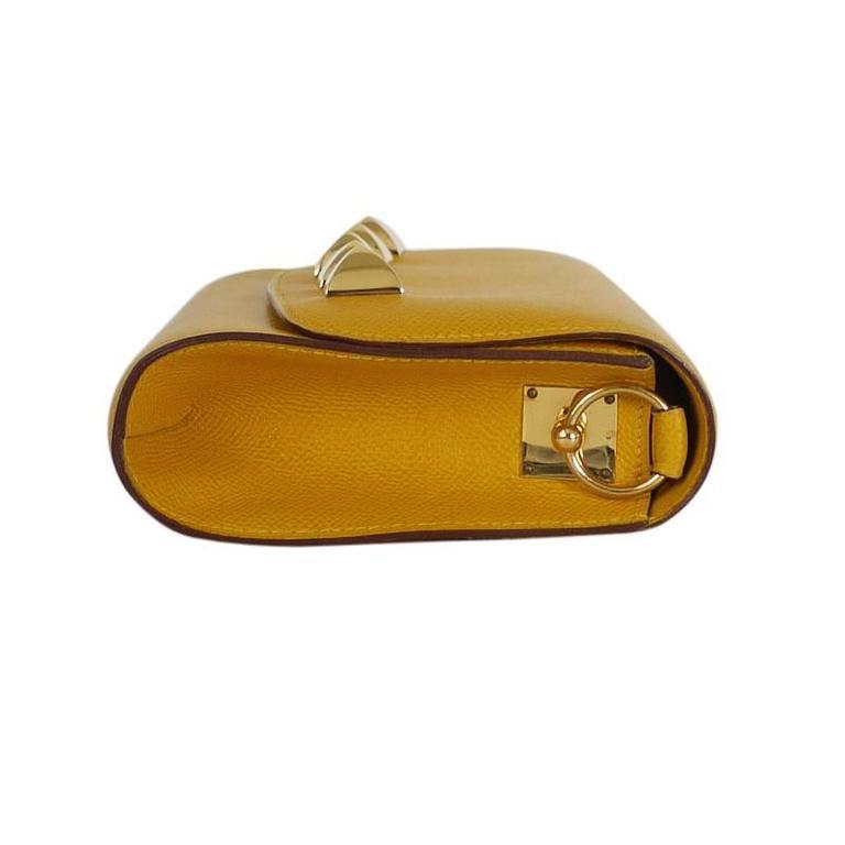 Women's Rare Vintage Hermes Medor 2way Clutch Shoulder Bag Yellow  For Sale