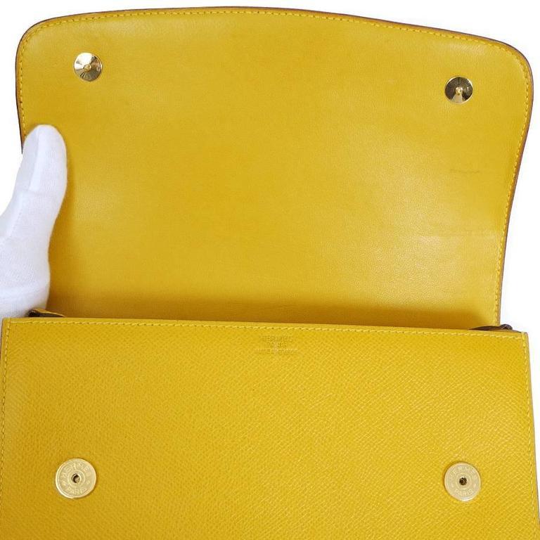 Rare Vintage Hermes Medor 2way Clutch Shoulder Bag Yellow  For Sale 4