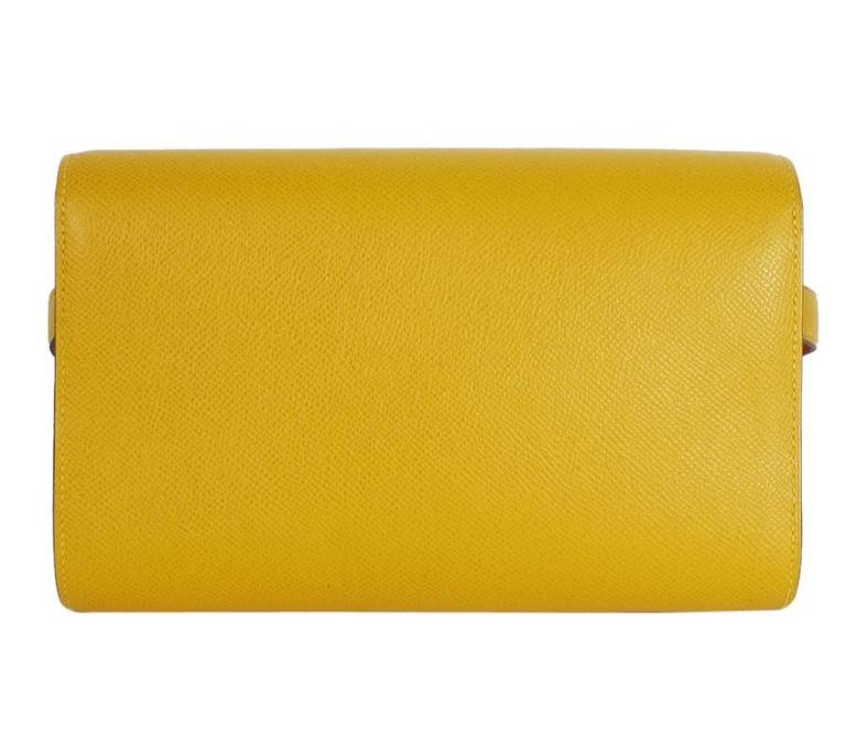 Rare Vintage Hermes Medor 2way Clutch Shoulder Bag Yellow  In Excellent Condition For Sale In Hiroshima City, JP