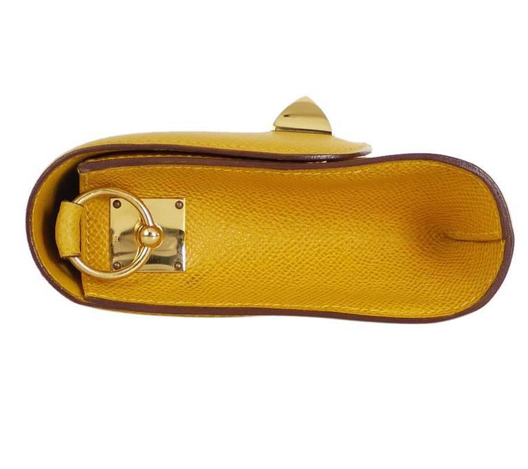 Rare Vintage Hermes Medor 2way Clutch Shoulder Bag Yellow  For Sale 1