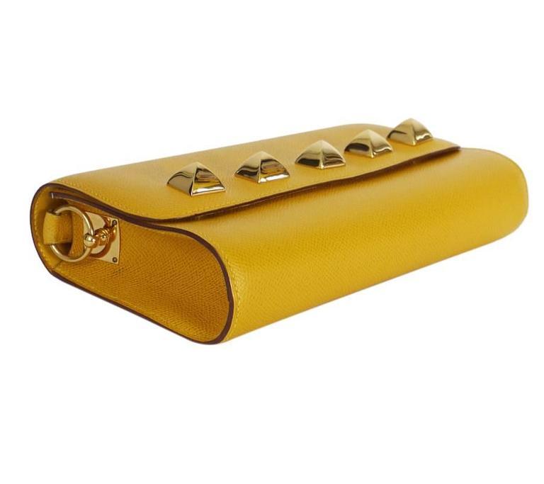 Rare Vintage Hermes Medor 2way Clutch Shoulder Bag Yellow  For Sale 2