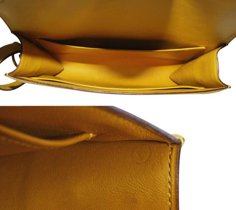 Rare Vintage Hermes Medor 2way Clutch Shoulder Bag Yellow  For Sale 5