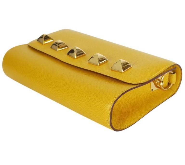 Rare Vintage Hermes Medor 2way Clutch Shoulder Bag Yellow  For Sale 3