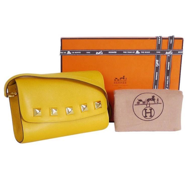 Rare Vintage Hermes Medor 2way Clutch Shoulder Bag Yellow  For Sale 6