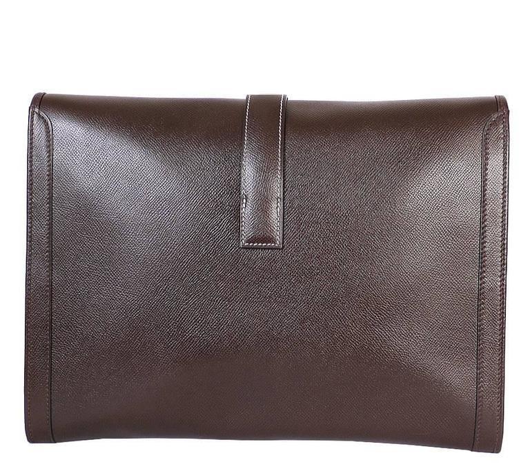 Black 1980s Hermes Couchevel Oversized Jige GM Clutch Bag For Sale
