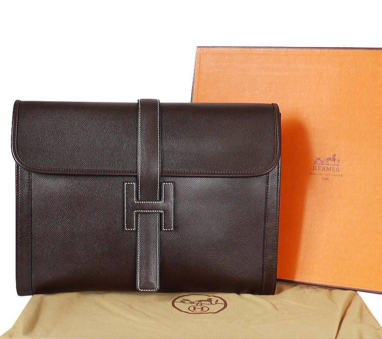 1980s Hermes Couchevel Oversized Jige GM Clutch Bag For Sale 5