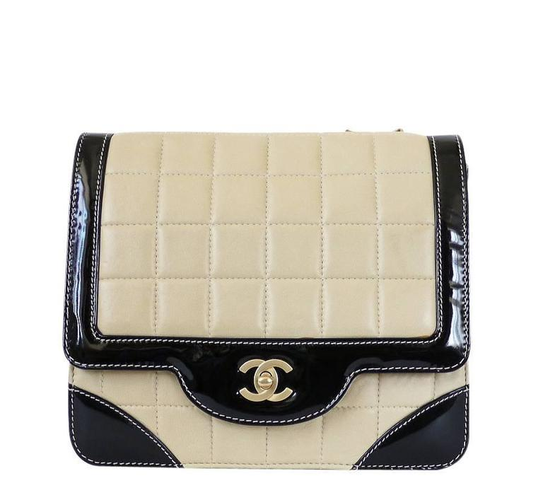 Beige Chanel Bicolor Calfskin Classic Cross Body Flap Bag  For Sale