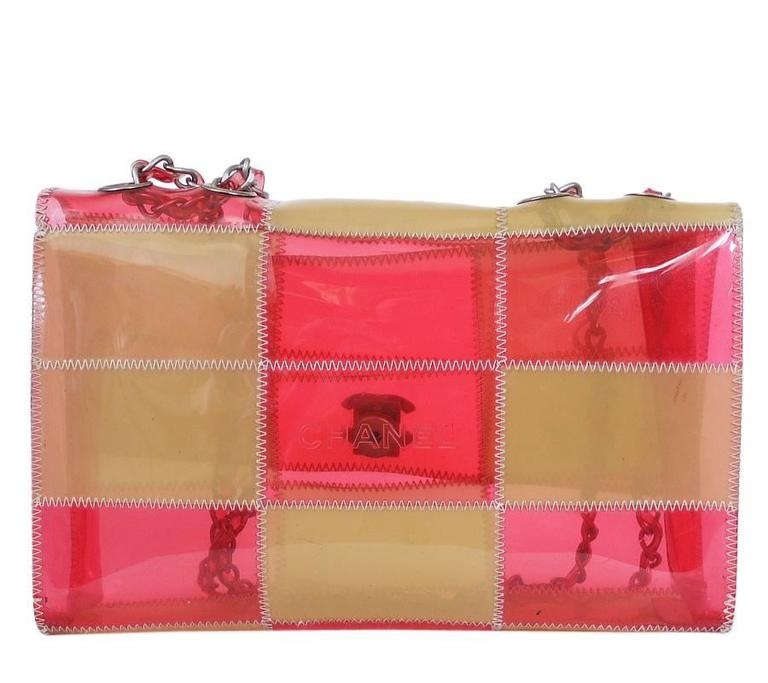 Chanel Patchwork Quilt Plastic Chain Flap Bag In Excellent Condition Vinyl