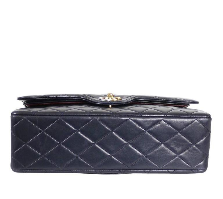 f294c7368e5d Vintage Chanel 2.55 Double Flap Classic Limited Edition Rare Navy In  Excellent Condition For Sale In