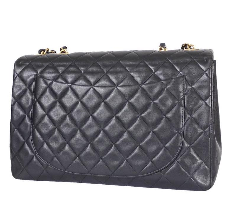 Vintage Chanel Lambskin Jumbo Classic Flap Bag Xl Black In Excellent Condition For Hiroshima
