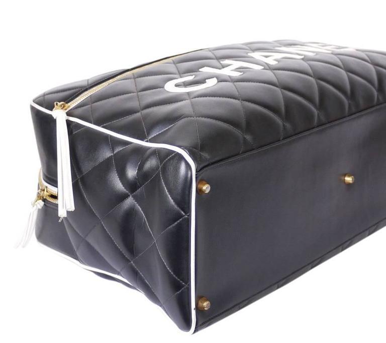 Vintage Chanel Black Leather Letter Logo Jumbo Bowling Bag 6