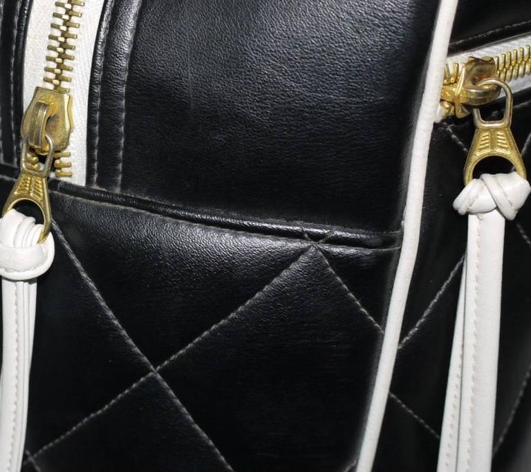 Vintage Chanel Black Leather Letter Logo Jumbo Bowling Bag 7