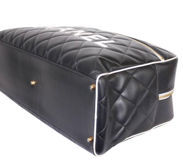 Vintage Chanel Black Leather Letter Logo Jumbo Bowling Bag 5