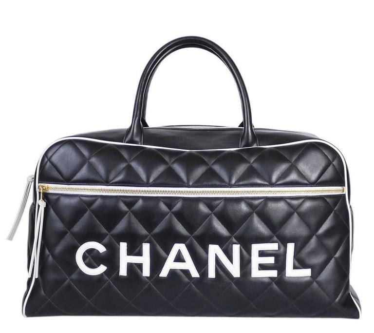 Vintage Chanel Black Leather Letter Logo Jumbo Bowling Bag 3