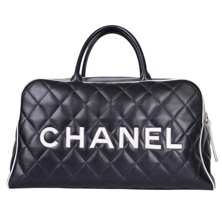Vintage Chanel Black Leather Letter Logo Jumbo Bowling Bag 2