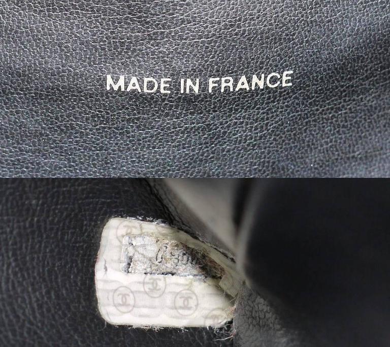 Vintage Chanel Black Leather Letter Logo Jumbo Bowling Bag 10