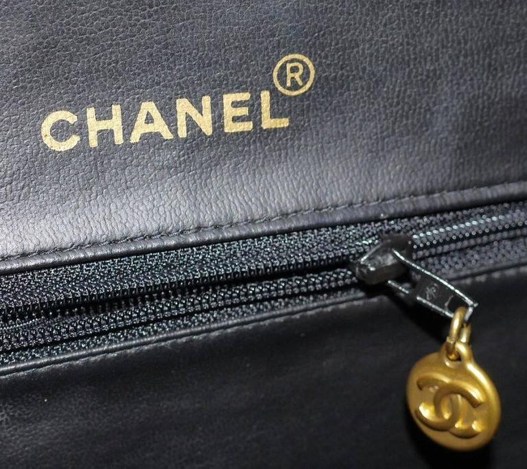Vintage Chanel Black Leather Letter Logo Jumbo Bowling Bag 9