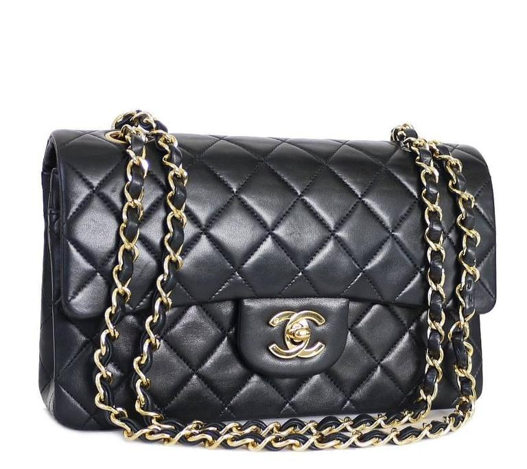 317b8a86ca46ba Chanel Black Lambskin 2.55 Double Flap Classic 23cm Medium at 1stdibs