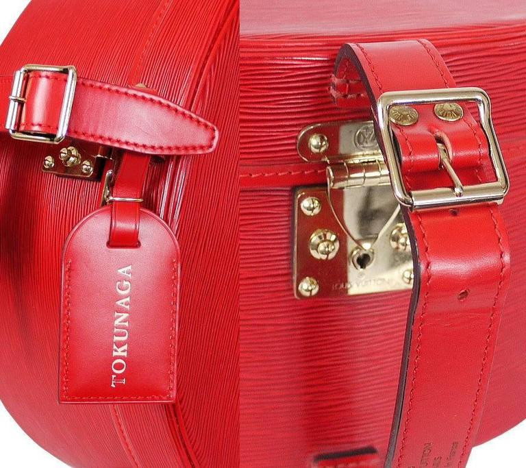 Louis Vuitton Red Epi Boite Chapeaux Hat Box 40 Rare 6