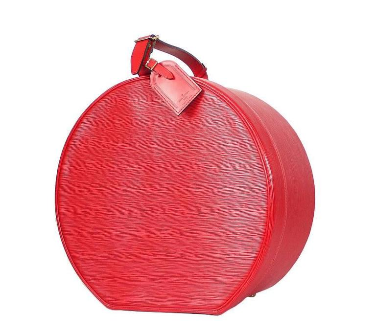 Louis Vuitton Red Epi Boite Chapeaux Hat Box 40 Rare 2